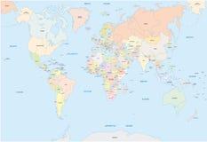 Världskarta i engelskt språk Arkivfoto