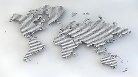 Världskarta med binära nummer som textur Arkivbilder