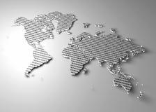 Världskarta med binära nummer som textur Arkivfoto