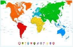 Världskarta med färgrika kontinenter och lägenhetöversiktspekare Arkivfoton