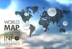 Världskarta- och informationsdiagram Arkivbild