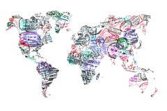Världskarta som skapas med passstämplar Arkivbild