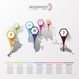 Världskartainfographics med symboler modern design vektor Royaltyfri Bild