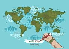 Världskartan skissar vektorn Royaltyfri Foto