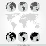 Världskartasamling med den plana detaljerade världskartan Royaltyfri Bild