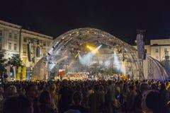 Världsungdomdagar, konsert på marknadsfyrkant Fotografering för Bildbyråer