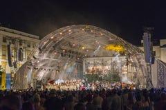 Världsungdomdagar, konsert på marknadsfyrkant Arkivbild