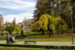 Public park in autumn - Vrnjacka Banja, Serbia. Vrnjacka Banja is a popular tourist destination in Serbia, a place that every year visit a millions of tourist stock images