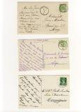 Vroeg 900 geschreven prentbriefkaaren Stock Afbeelding