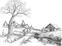 Vroeg de lentelandschap Stock Foto