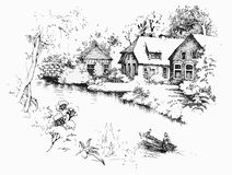 Vroeg de lentelandschap Royalty-vrije Stock Afbeeldingen