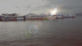 Vroeg de ochtendschot van Santa Ana Wharf stock videobeelden