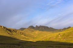 Vroeg ochtendzonlicht op de berg Stock Fotografie