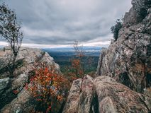 Vroege de Herfstkleuren op een rotsachtige bergtop die uit op de brede Shenandoah-Vallei veel hieronder kijken royalty-vrije stock foto