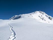 Vroege de trog diepe sneeuw van het ochtend eerste spoor op bergpiek Stock Afbeeldingen