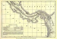 Vroege kaart van het Kanaal van Panama. Stock Fotografie