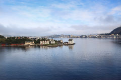 Vroege ochtend in Alesund (Noorwegen) Royalty-vrije Stock Foto