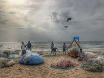 Vroege ochtend in het strand stock afbeeldingen