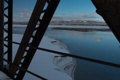 Vroege ochtendmening van Barachois, Quebec, Canada van verlaten spoorwegbrug Royalty-vrije Stock Fotografie