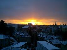 Vroege ochtendmening van de wekkende stad Stock Afbeeldingen