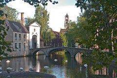 Vroege ochtendscène in Brugge, België Royalty-vrije Stock Afbeeldingen