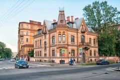 Vroeger huis van Victor Schroter in St. Petersburg Rusland stock afbeelding