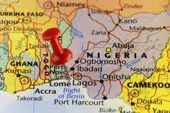 Vroegere capitol van Nigeria, Lagos, gespelde kaart Royalty-vrije Stock Afbeelding