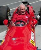Vroegere Ferrari F1 bestuurder, Chris Amon stock fotografie