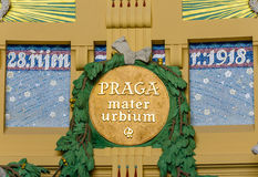 Vroegere Jugendstil in de historische bouw van het station van Praag, Tsjechische Republiek Stock Afbeeldingen