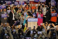 Vroegere Secretaresse Hillary Clinton Campaigns voor Voorzitter bij Universiteit Cinco de Mayo, 2016 de Oost- van Los Angeles Royalty-vrije Stock Foto