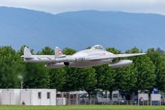 Vroegere Swiss Air-Kracht de Havilland DH 100 Vampie FB 6 vliegtuigen hb-RVN stock fotografie