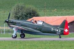 Vroegere Swiss Air-Kracht morane-Saulnier D-3801 M S 406 vechtersvliegtuigen van Wereldoorlog II stock afbeelding