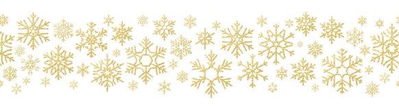 Vrolijk de decoratieeffect van de Kerstmisvakantie Gouden sneeuwvlok naadloos patroon Eps 10 royalty-vrije illustratie