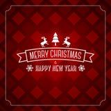 Vrolijk de kaartmalplaatje van de Kerstmisgroet - rood patroon Stock Foto's