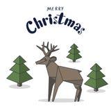 Vrolijk de kaartontwerp van de Kerstmisgroet met de herten van de origamistijl en royalty-vrije illustratie