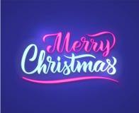 Vrolijk de tekstteken van het Kerstmisneon Het kan voor prestaties van het ontwerpwerk noodzakelijk zijn Neon gloeiend uithangbor vector illustratie