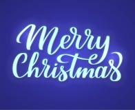 Vrolijk de tekstteken van het Kerstmisneon Het kan voor prestaties van het ontwerpwerk noodzakelijk zijn Neon gloeiend uithangbor stock illustratie