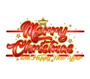 Vrolijk de typografieontwerp van de Kerstmisgroet Stock Fotografie