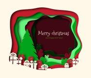 Vrolijk die Kerstmisdocument met boomvector wordt gesneden Rond de spar zijn giften met linten worden verfraaid dat Multi-layered vector illustratie