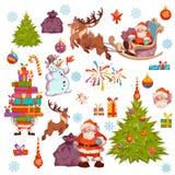 Vrolijk die Kerstmispictogram met Santa Claus, pijnboom, sneeuwman en andere wordt geplaatst Vector illustratie Stock Foto