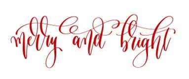 Vrolijk en helder - de rode tekst van de hand van letters voorziende inschrijving aan de winter royalty-vrije illustratie