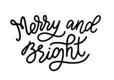 Vrolijk en Helder De vectorillustratie van de Monolinekalligrafie Affiche van hand de van letters voorziende Kerstmis Kalligrafis Royalty-vrije Stock Foto