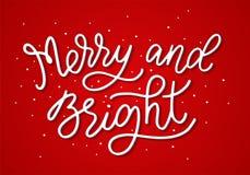 Vrolijk en Helder De vectorillustratie van de Monolinekalligrafie Affiche van hand de van letters voorziende Kerstmis Kalligrafis stock illustratie