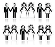 Vrolijk en lesbisch huwelijk - bruidegom en bruid geplaatste pictogrammen vector illustratie