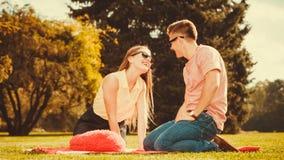 Vrolijk hartelijk paar op picknick royalty-vrije stock afbeeldingen