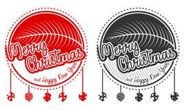 Vrolijk het kentekenembleem van de Kerstmisgroet Royalty-vrije Stock Afbeeldingen