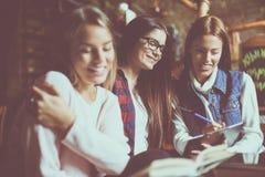 Vrolijk het meisje van smiley jong studenten het werk thuiswerk samen C royalty-vrije stock fotografie