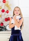 Vrolijk jong geitje opgewekt over nieuw jaar komst De kleine het fluweelkleding van de meisjesslijtage voelt feestelijke dichtbij stock afbeelding