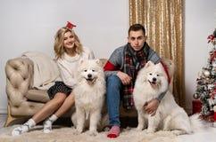 Vrolijk jong paar die leuke honden op Kerstmis thuis petting royalty-vrije stock foto