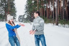 Vrolijk jong paar die pret in de winterpark hebben royalty-vrije stock fotografie